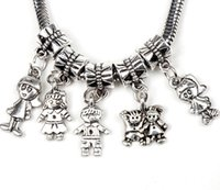 Wholesale MIC Tibetan Silver Boy Girl Charms Big Hole Beads Dangles Fit Pandora Bracelets Jewelry DIY