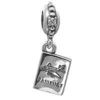 adventure holidays - Dangle Passport Adventure Awaits with Clear CZ Sterling Silver Beads Fit Pandora Charms Bracelet Authentic DIY Fashion Jewelry