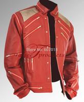 Cheap Fall-Rare Classic MJ MICHAEL JACKSON CUSTOM Classic Beat It MV Red Zipper Jacket