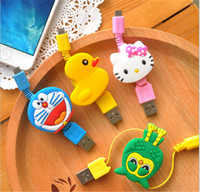 Wholesale Colorful portable Travel retractable cartoon usb cable stretch standard usb charging flexible cable for Android universal charging cable