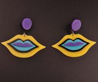 earrings sexy - European Fashion Personality Club DJ Jewelry Accessories Red Yellow Sexy Lips Earrings Female Stud Earrings