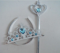 accessories and ornaments - Frozen crown and wand Ornament Anna Elsa cosplay Crown Tiaras Children Party Accessories Magic Wand sticks Rhinestone Crown