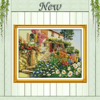 beauty cabin - Garden Villa beauty cabin home Scenery counted print on the canvas DMC CT CT NKF Cross Stitch Embroidery kits Needlework Set