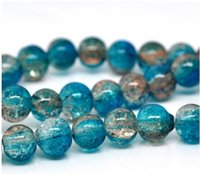 aqua coffee - mm Aqua amp Coffee Crackle Glass Round Beads B357