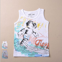 Wholesale For Years Kids Vest T Shirts Children Cartoon Sleeveless Vest Tops Boy Cotton T Shirt Clothes G2973