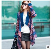 Wholesale Women Casual Poncho Sweaters Vintage Knitted Asymmetrical Sweater New Autumn Winter Long Warm Cardigan Fashion Coat Sweaters For Women