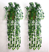green leaves - M Artificial Wall Mounted Silk Green Flower Leaves Rattan DIY Garland crafts Accessory For Home Decoration