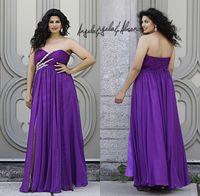 designer plus size - Designer Purple Prom Plus Size Women Dresses Sweetheart Sleeveless High Slit Beading Chiffon Empire Waist Ruffles A line Long Formal Dresses