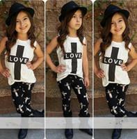autumn signs - Girls fashion INS LOVE Sleeve vest Suits new children Sleeve vest trousers plus sign Suit baby clothes B
