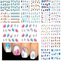 beautiful watermarks - Sheet Hot Beautiful Feather Design Water Transfer Stickers Nail Art Decal Nail Wrap Watermark Adhisive Nails Sticker WNAo203