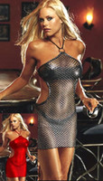 Wholesale w1023 Hot lingerie porn baby doll club dress erotic nightgown sexy dress red silver clothes for women