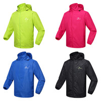 Wholesale New Windproof Men Women Cycling Jackets Rain Jacket Storage Pouch Long Sleeve Bicycle Bike Jersey Hooded Coat Casual Sports Clothing Color