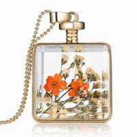 american press - Glass Floating Locket Pendant Necklace Real Dry Flower Necklace DIY Pressed Dried Botanical Pendants For Women YH N