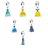 Slides, Sliders dangle charms - 925 Sterling Silver Cinderella Princess Dress Dangle Charm With Enamel Fits For European Bracelets Diy Jewelry Pandora Charms Silver