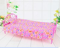 Wholesale 2016 New Pink Nightgown Single Pink Bed Dollhouse Furniture for doll doll DRES
