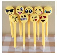 Wholesale Newest emoji Ballpoint Pens Plush Toy children s love Creative Expression pen with cartoon plush toys kids Christmas Gift R1544