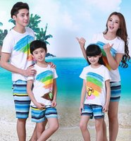 beach shorts slippers - Family Clothing Sets Summer Beach Children Slippers Cotton T Shirt Blue Striped Dry Pants Mother Father Baby Matching Outfits