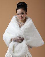 Wholesale Ivory White Faux Fur Bridal Wrap Cape Stole Shawl Bolero Jacket Coat Perfect For Winter Wedding Bride Bridesmaid Plus Size x50cm