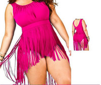 Wholesale 5XL New Plus Size One piece Swimsuit for Chubby Woman Tassel Bikini Round Neck Siamese Cover Belly Jumpsuit Swimwear Bathing suit