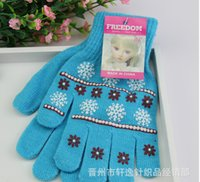 Wholesale Factory Price New Women Knit Gloves big kids Knit Warm Winter Gloves Skiiing gloves Gloves Frozen Princess Gloves