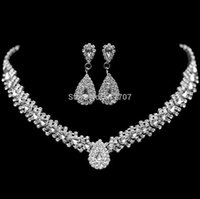 Wholesale New Design Teardrop Wheat Imitated Gemstone Crystal Wedding Bridal Jewelry Sets including Necklace and Earrings