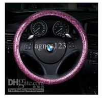 Wholesale Fashion pink blue white steering wheel cover glitter car cover four seasons genera silver green blue purple gold powder free shippin l