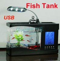 Wholesale Mini Multi function Small Fish Tank USB Desktop Lamp Light LED Aquarium New Hot Drop Shipping