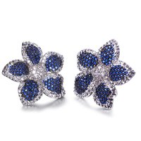 Wholesale Flower blue sapphire stud earrings Designer jewelry post earring with AAA cubic zirconia Rhodum plate