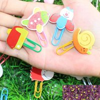 Wholesale South Korean stationery cartoon painting cute animals wooden paper clip bookmark
