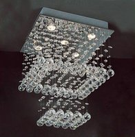 Cheap Modern clear Square Crystal Pendant Lamp Hanging Chandelier Suspension Light Fixture