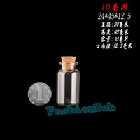 Wholesale New Hot Fashion ml x45x12 mm Tiny Clear Empty Wishing Glass mini cute Bottle Message Vial With Cork Stopper