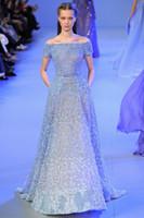 A-Line elie saab wedding dresses - Royal Blue A line Lace Wedding Dress Off Shoulder Elie Saab Sweep Train Handmade Flower Applique Beaded Crystal Organza Wedding Dress RX735