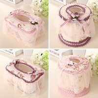 Wholesale Large Tissue Boxes Home Bedroom Decor European Style Tissue Holder Chiffon And Plastic Car Napkin Holders JC0095