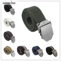 web belt - Womdee Mens Slider Buckle Military Style Long Weave Canvas Web Belt