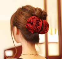 Wholesale Korean Fashion Rose Hair Accessories Beauty Ribbon Rose Flower Bow Hair Clip Hair Claws for Women SF358