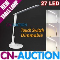 Wholesale Free DHL and FEDEX Touch Switch Dimmable LED Table Lamp Foldable Multifunction W LED Desk lamp Work Study Reading Light V