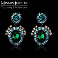 Wholesale Top Quality Noble Style Austrian Crystal Multicolor Drop Earrings for Women Fashion Jewelry EH151