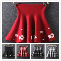 Wholesale 2014 New Style Sexy Skirt Knitting Cotton Mini Pleated Skirts Fishtail Sheath Plaid Fashion Skirts Party Colorful Printed Short Skirts