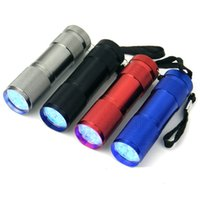 Cheap 100 pieces 395~400 nm Aluminium 9 LED Torch UV Flashlight