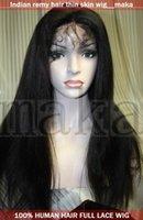 thin skin wig - Thin skin b Natural black Yaki straight beautiful full lace wig inch human Indian indic remy wigs