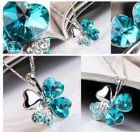 austrian crystal heart pendant necklace - Fashion Heart Rhinestone Austrian Crystal Necklace Women Girls Four Leaves Clover Pendant Necklaces Jewelry