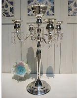 crystal candelabra - H75cm W48cm Heads Crystal Candelabra Candle Holder wedding Centerpiece flower bowl Candle holder with pendants
