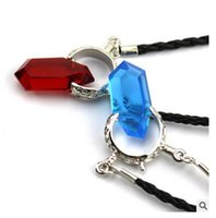 Pendant Necklaces Usa Unisex Necklace Cosplay DMC Devil May Cry 5 Dante Vergil Red Acrylic Resin Crystal Pendant Necklace PU Leather Chain For Men necklaces Dhgate