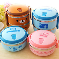 bear container - 1 Level L Hello Kitty Lunch box keep warm food Doraemon Stainless steel lunch container Bear warm food bowl thermo cold children cartoon