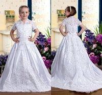 Cheap Cheap White Short Sleeve Ball Gown Flower Girls Dresses for Weddings Gowns Junior Toddler Pageant Dresses for Little Girls