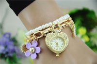 Women's metal sunflower - New Arrival Fashion Women wristwatches metal chain sunflower pearl Wrist Watch for women RQ05