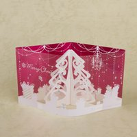Wholesale Illusion D Christmas Greeting Cards Snowflake Laser Cut Christmas Tree Gift Card for Happy New Year Decorative Printed Patterns SX02042