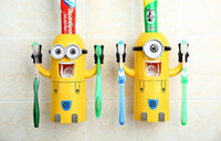 Wholesale 2015 New Cute Two single Eyes Despicable Me Minions Wash set Toothbrush Holder Automatic Toothpaste Dispenser Set Brush Kit Cup Yellow