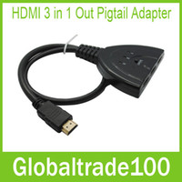 Wholesale HDMI in Out Pigtail Adapter HDMI Auto Switch Extender Switcher Splitter Hub With Cable For HDTV P Free DHL
