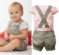 Wholesale Baby Girls Kids Newborn One piece Playsuit Jumpsuit T shirt Pants Outfit Clothes